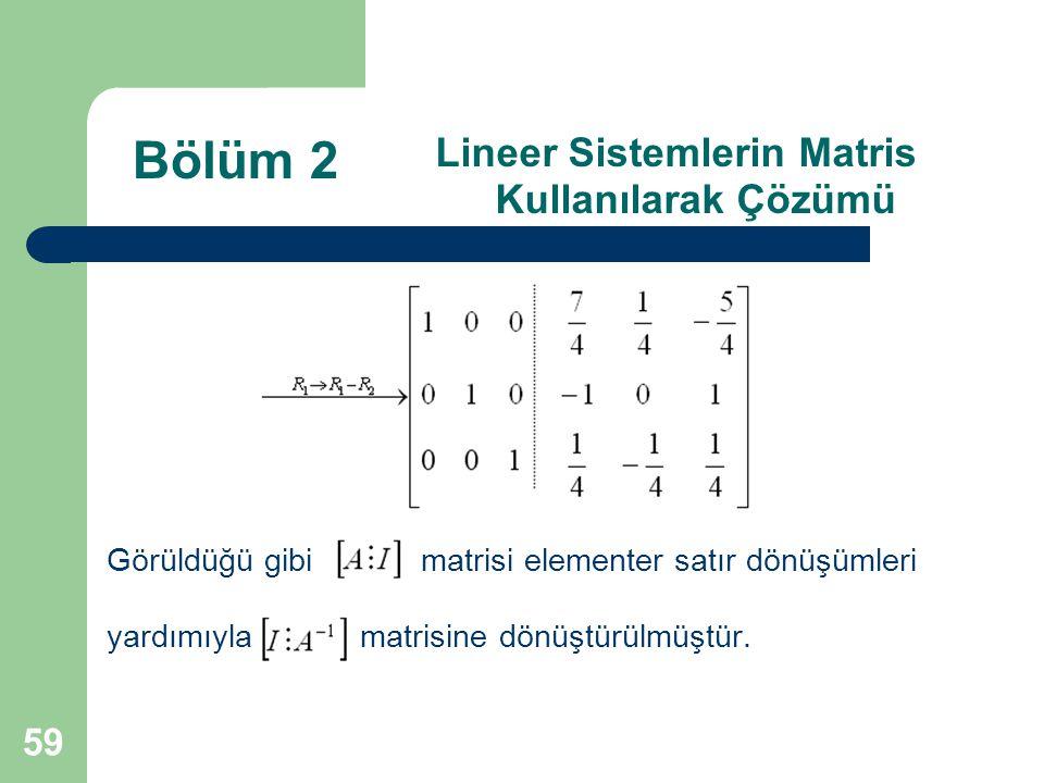 Lineer Sistemlerin Matris Kullanılarak Çözümü