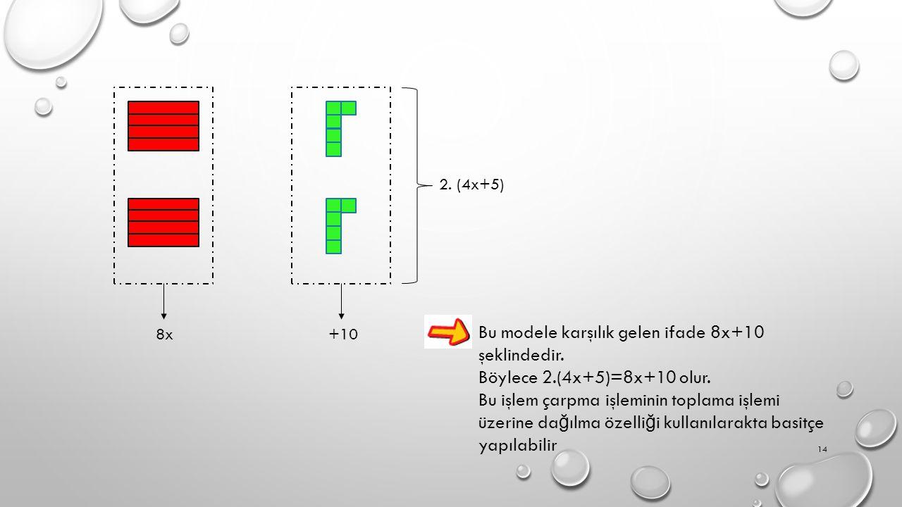 Bu modele karşılık gelen ifade 8x+10 şeklindedir.