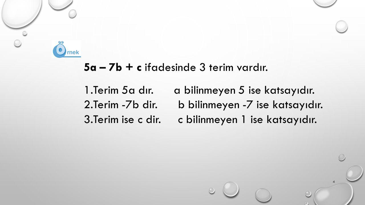 5a – 7b + c ifadesinde 3 terim vardır.