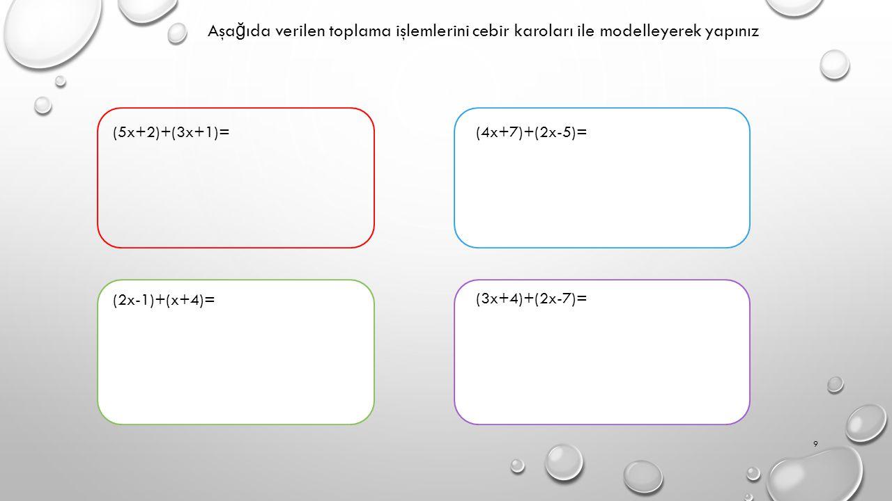 Aşağıda verilen toplama işlemlerini cebir karoları ile modelleyerek yapınız