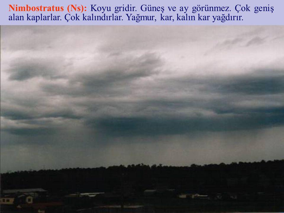Nimbostratus (Ns): Koyu gridir. Güneş ve ay görünmez