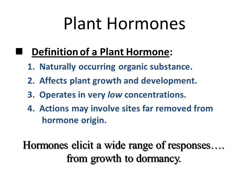 Plant Hormones Definition of a Plant Hormone: