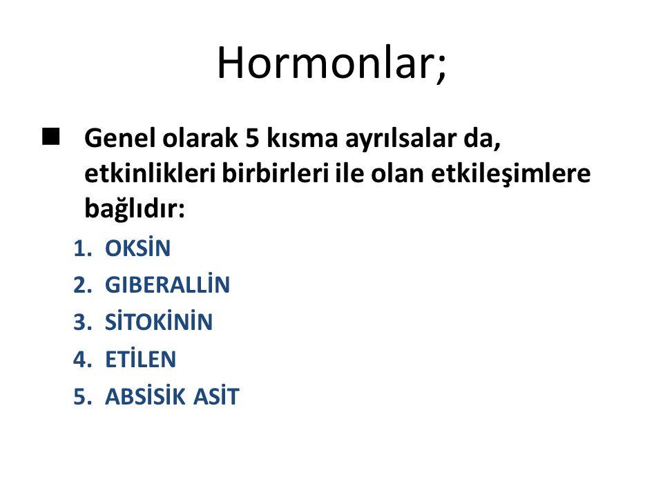 Hormonlar; Genel olarak 5 kısma ayrılsalar da, etkinlikleri birbirleri ile olan etkileşimlere bağlıdır: