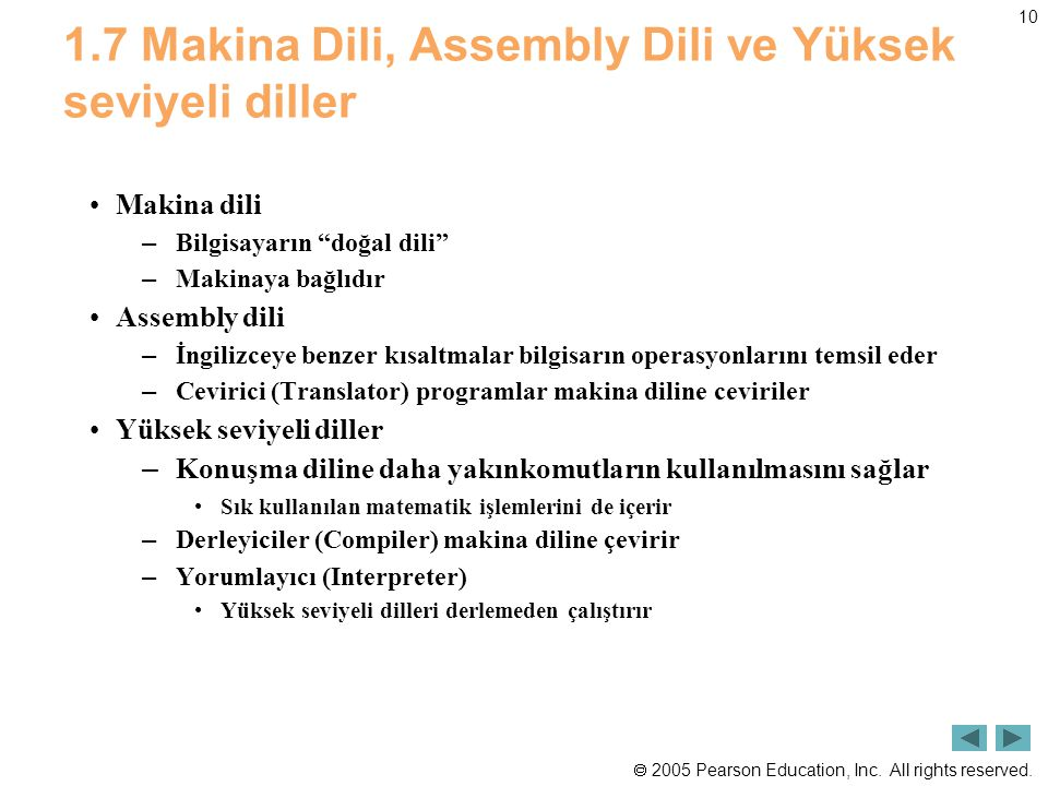1.7 Makina Dili, Assembly Dili ve Yüksek seviyeli diller