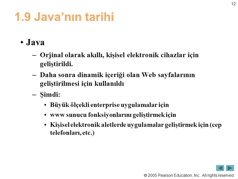 1.9 Java'nın tarihi Java. Orjinal olarak akıllı, kişisel elektronik cihazlar için geliştirildi.