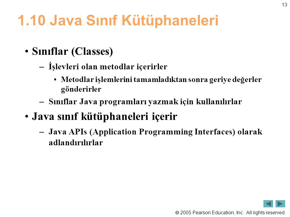 1.10 Java Sınıf Kütüphaneleri