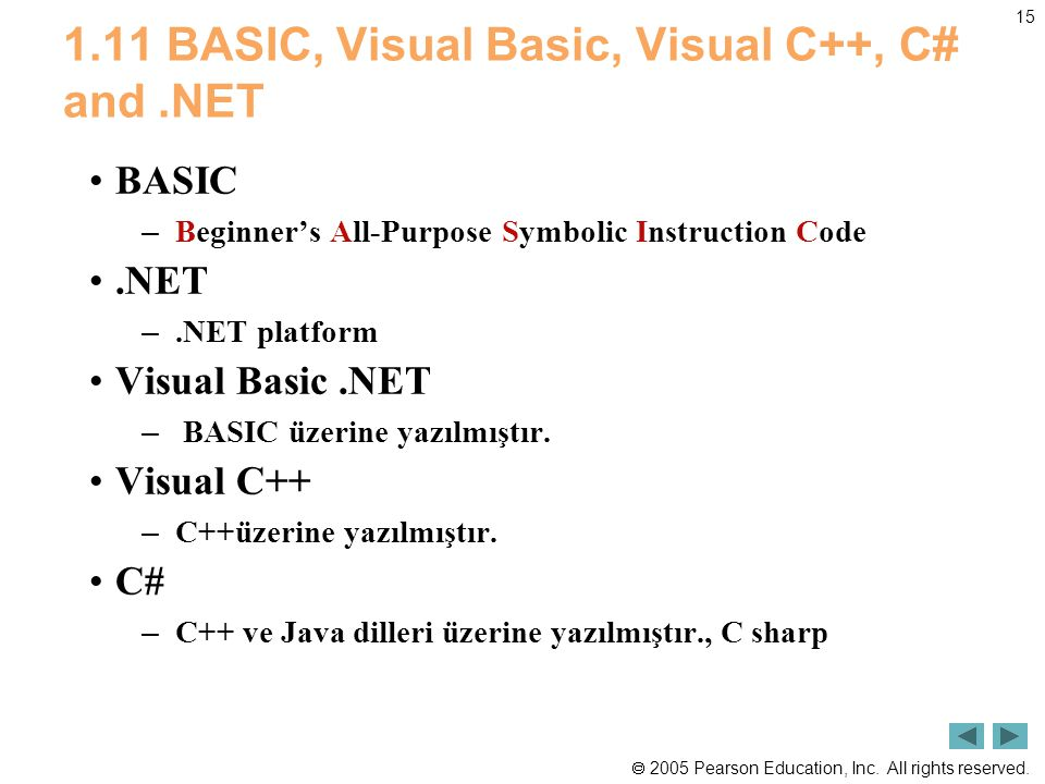 1.11 BASIC, Visual Basic, Visual C++, C# and .NET