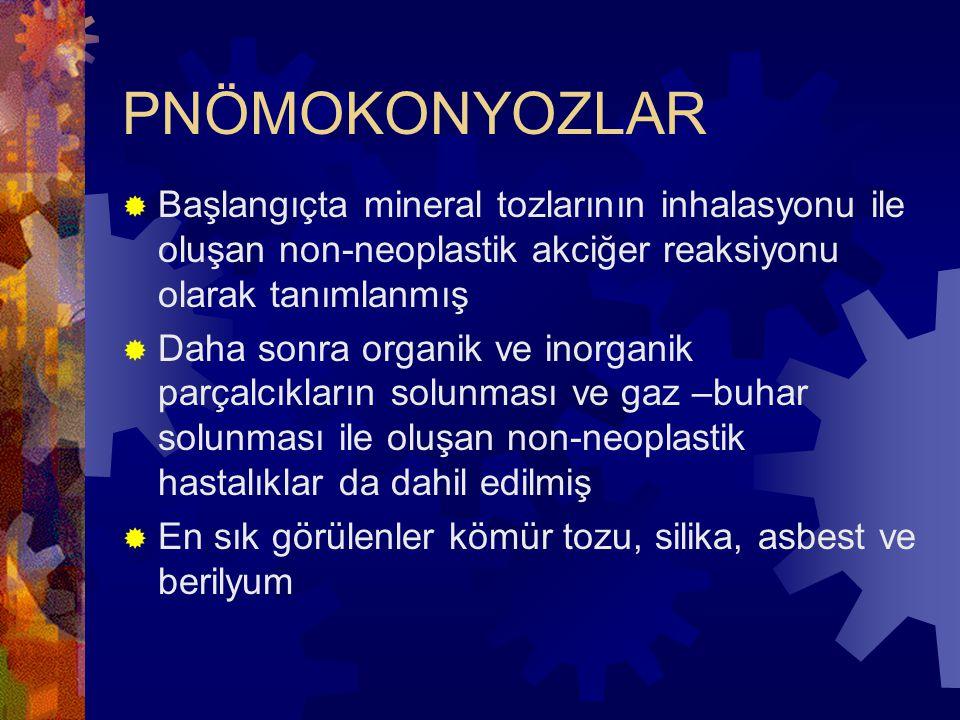 PNÖMOKONYOZLAR Başlangıçta mineral tozlarının inhalasyonu ile oluşan non-neoplastik akciğer reaksiyonu olarak tanımlanmış.