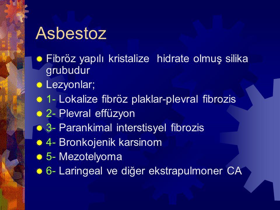 Asbestoz Fibröz yapılı kristalize hidrate olmuş silika grubudur