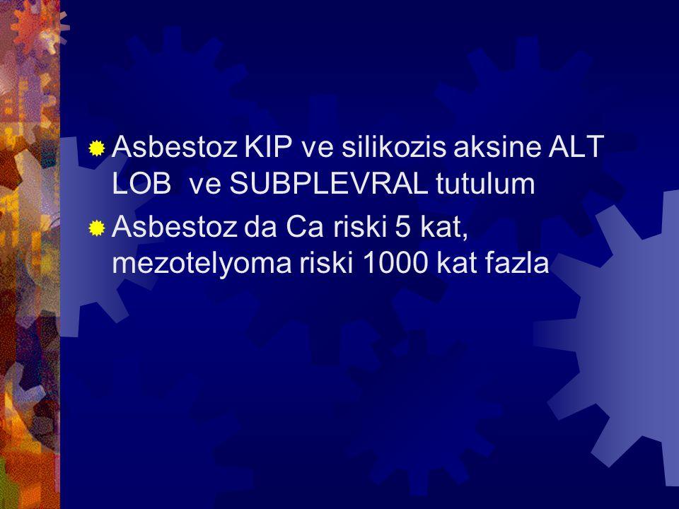 Asbestoz KIP ve silikozis aksine ALT LOB ve SUBPLEVRAL tutulum