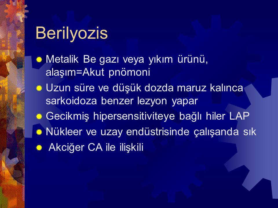 Berilyozis Metalik Be gazı veya yıkım ürünü, alaşım=Akut pnömoni