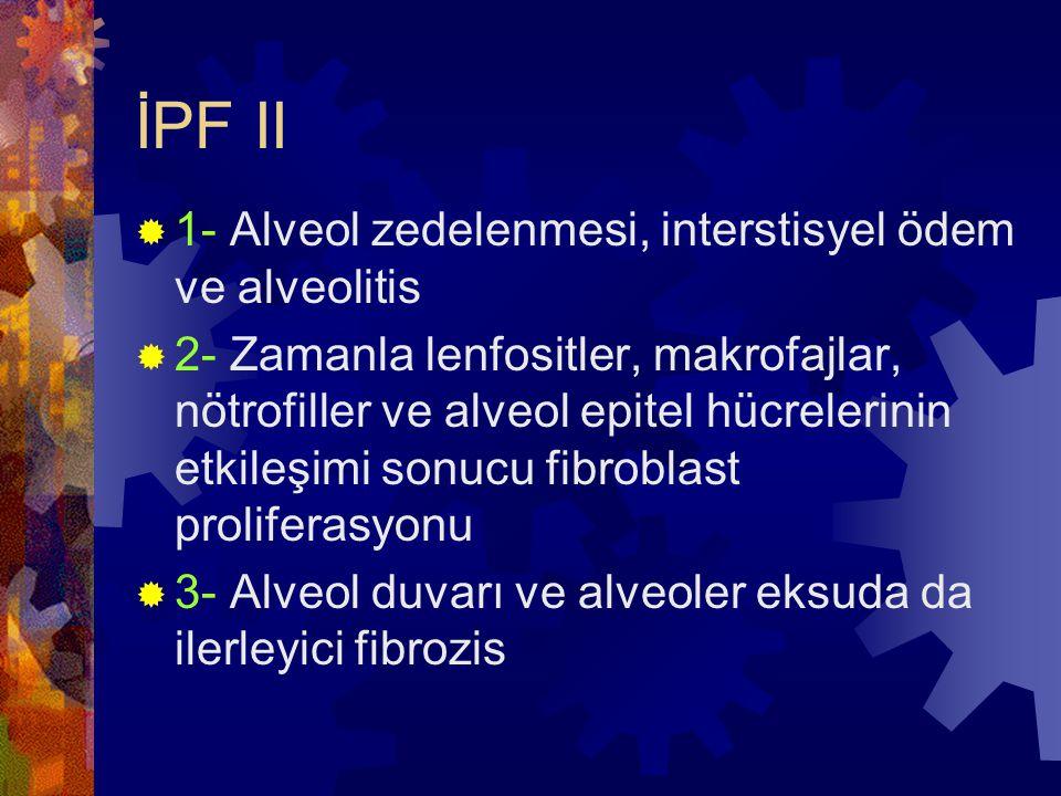 İPF II 1- Alveol zedelenmesi, interstisyel ödem ve alveolitis