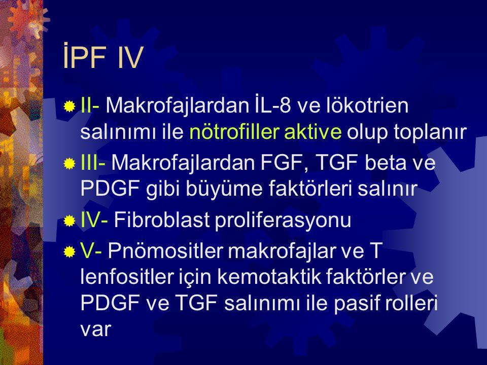 İPF IV II- Makrofajlardan İL-8 ve lökotrien salınımı ile nötrofiller aktive olup toplanır.