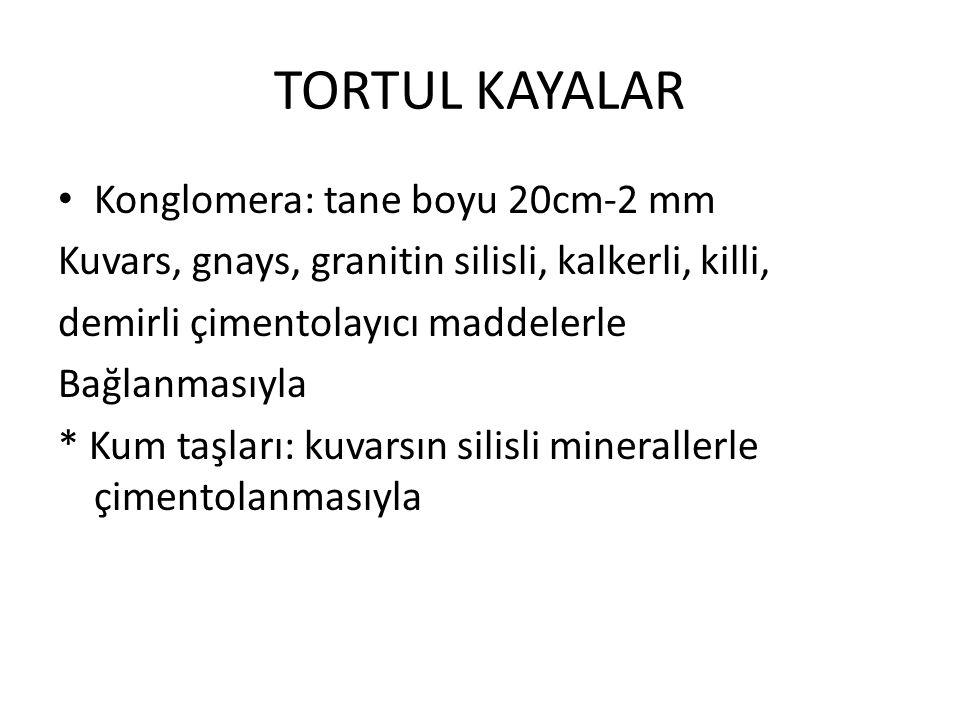 TORTUL KAYALAR Konglomera: tane boyu 20cm-2 mm