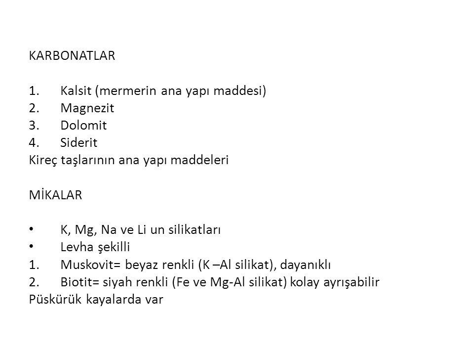 KARBONATLAR Kalsit (mermerin ana yapı maddesi) Magnezit. Dolomit. Siderit. Kireç taşlarının ana yapı maddeleri.