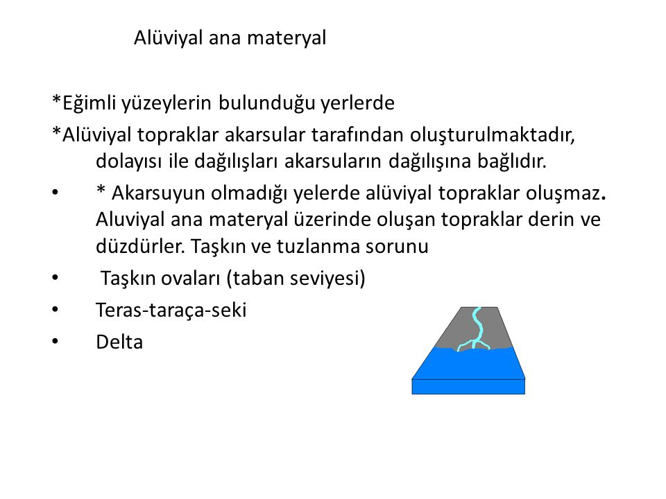 Alüviyal ana materyal *Eğimli yüzeylerin bulunduğu yerlerde