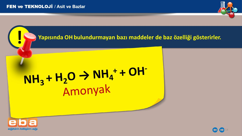 ! NH3 + H2O → NH4+ + OH- Amonyak FEN ve TEKNOLOJİ / Asit ve Bazlar