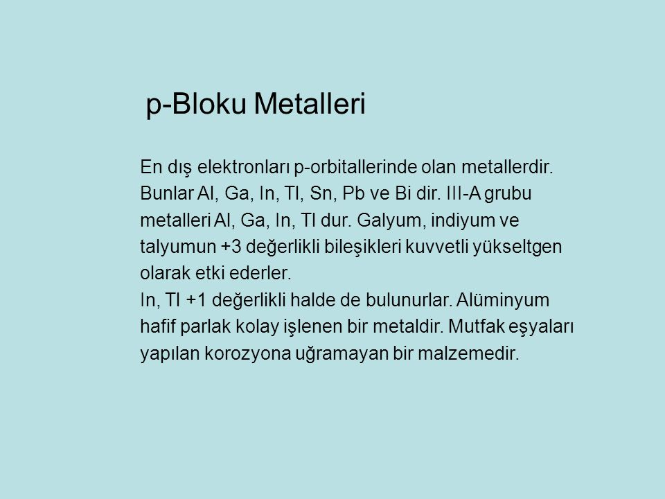 p-Bloku Metalleri
