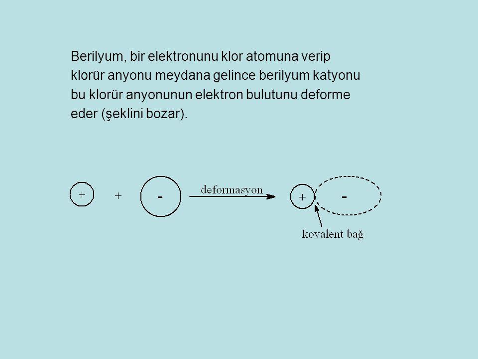 Berilyum, bir elektronunu klor atomuna verip klorür anyonu meydana gelince berilyum katyonu bu klorür anyonunun elektron bulutunu deforme eder (şeklini bozar).