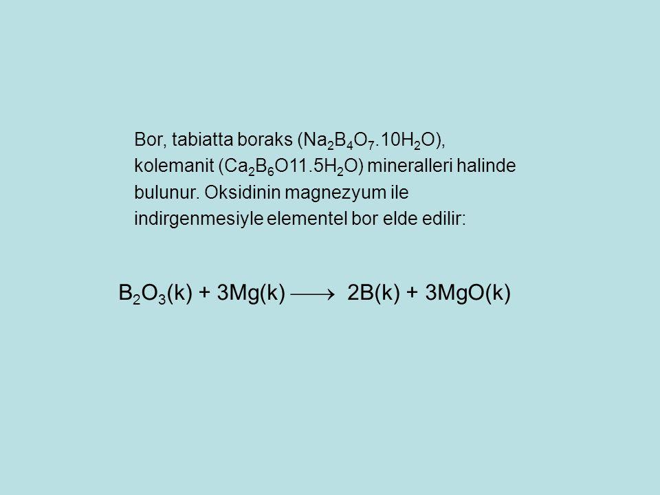 B2O3(k) + 3Mg(k)  2B(k) + 3MgO(k)