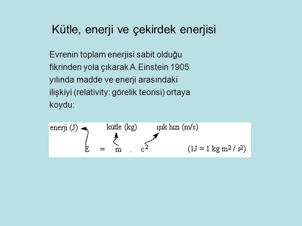 Kütle, enerji ve çekirdek enerjisi