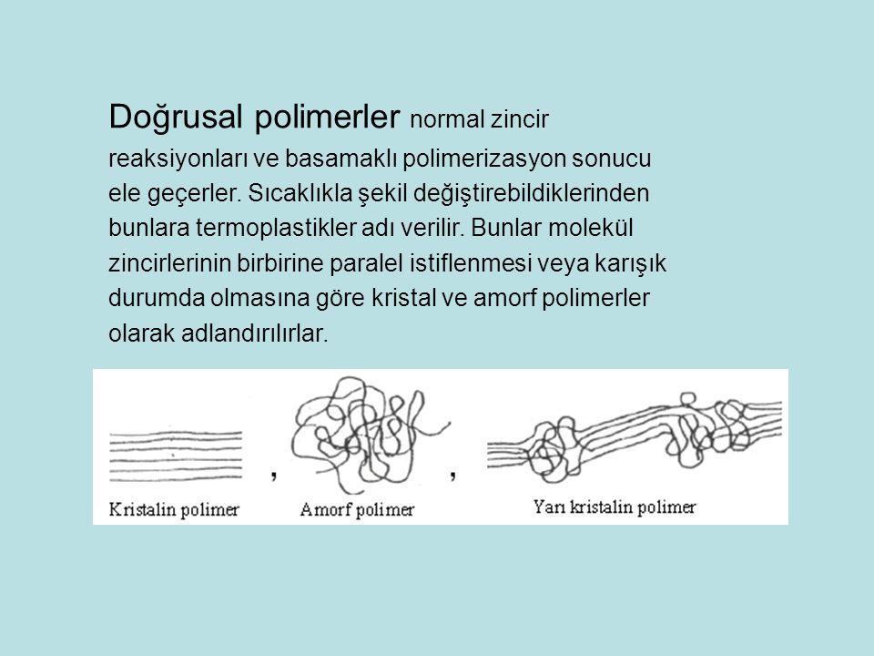 Doğrusal polimerler normal zincir reaksiyonları ve basamaklı polimerizasyon sonucu ele geçerler.