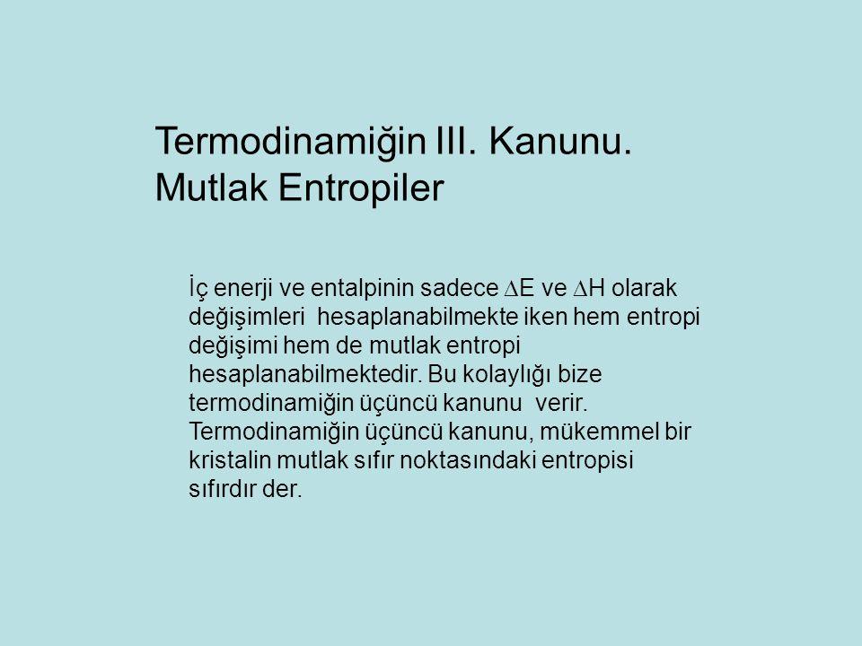 Termodinamiğin III. Kanunu. Mutlak Entropiler