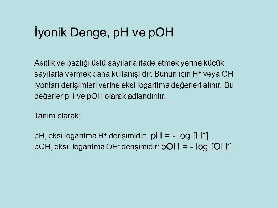 İyonik Denge, pH ve pOH