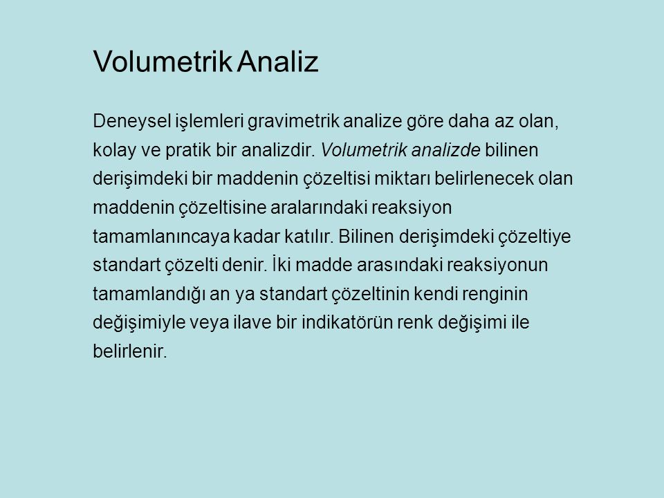 Volumetrik Analiz