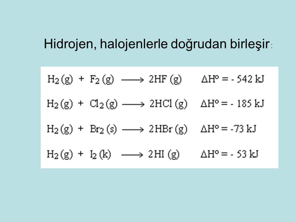 Hidrojen, halojenlerle doğrudan birleşir :