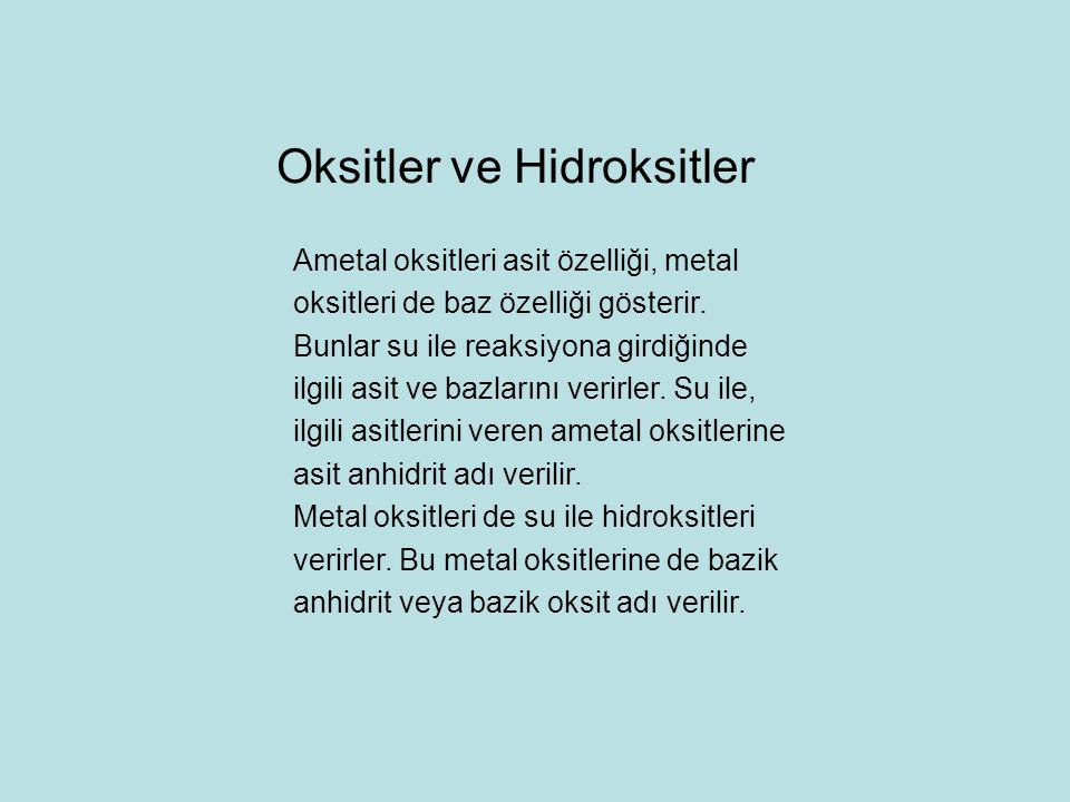 Oksitler ve Hidroksitler