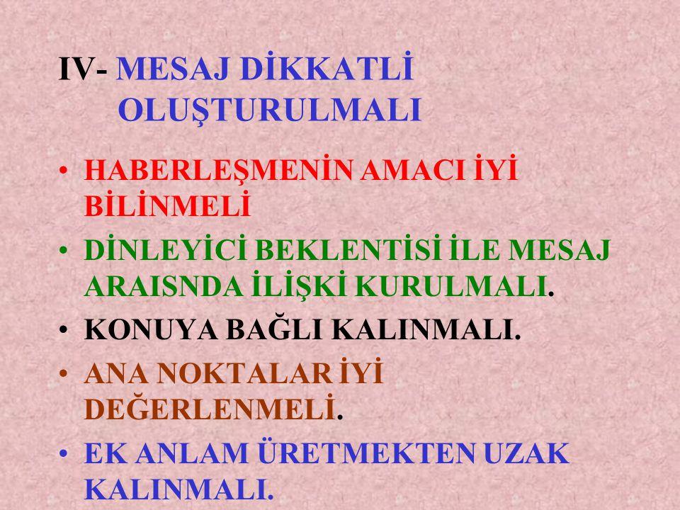 IV- MESAJ DİKKATLİ OLUŞTURULMALI