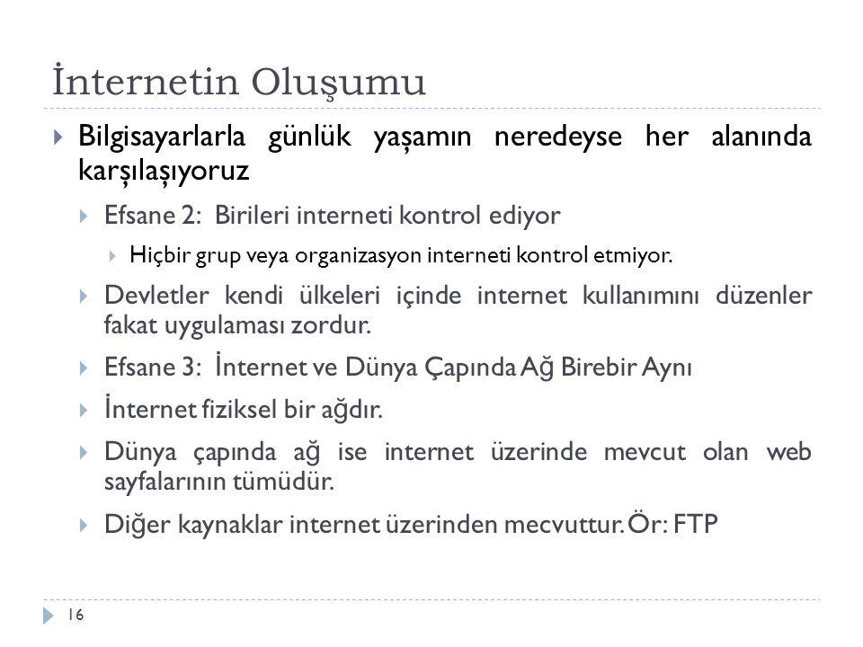 İnternetin Oluşumu Bilgisayarlarla günlük yaşamın neredeyse her alanında karşılaşıyoruz. Efsane 2: Birileri interneti kontrol ediyor.