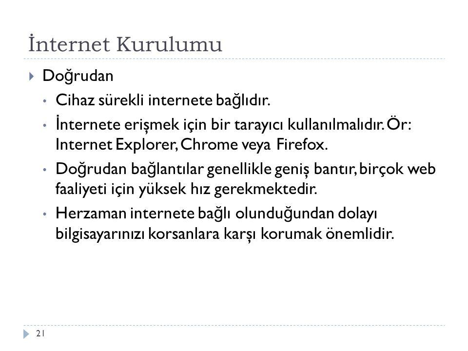 İnternet Kurulumu Doğrudan Cihaz sürekli internete bağlıdır.