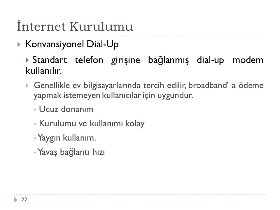 İnternet Kurulumu Konvansiyonel Dial-Up