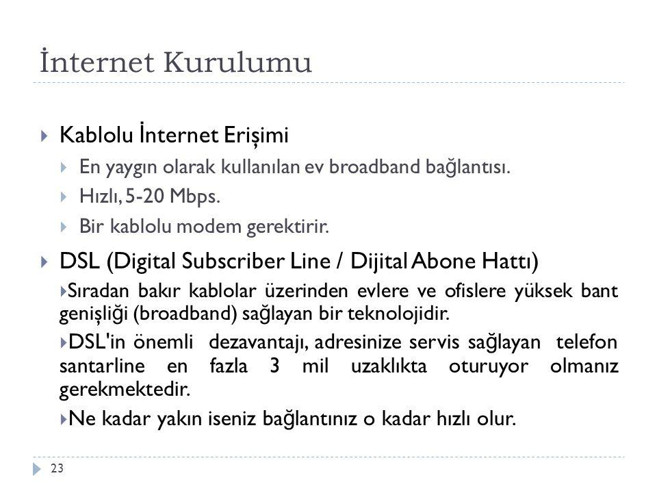 İnternet Kurulumu Kablolu İnternet Erişimi