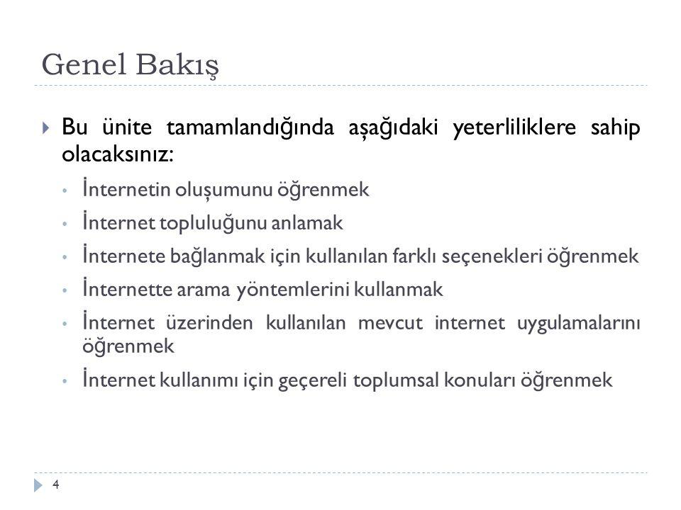 Genel Bakış Bu ünite tamamlandığında aşağıdaki yeterliliklere sahip olacaksınız: İnternetin oluşumunu öğrenmek.