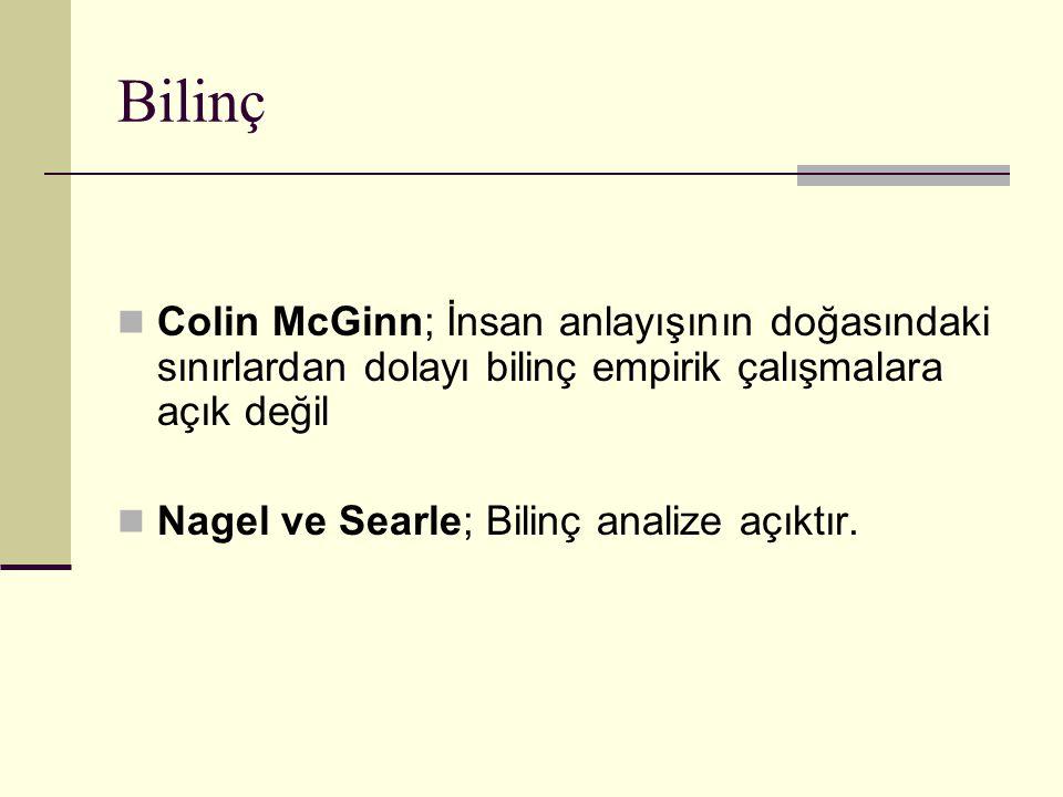 Bilinç Colin McGinn; İnsan anlayışının doğasındaki sınırlardan dolayı bilinç empirik çalışmalara açık değil.