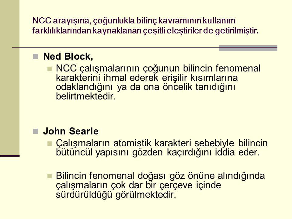 NCC arayışına, çoğunlukla bilinç kavramının kullanım farklılıklarından kaynaklanan çeşitli eleştiriler de getirilmiştir.