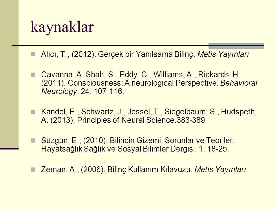 kaynaklar Alıcı, T., (2012). Gerçek bir Yanılsama Bilinç. Metis Yayınları.