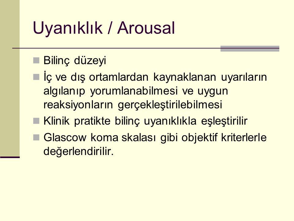 Uyanıklık / Arousal Bilinç düzeyi