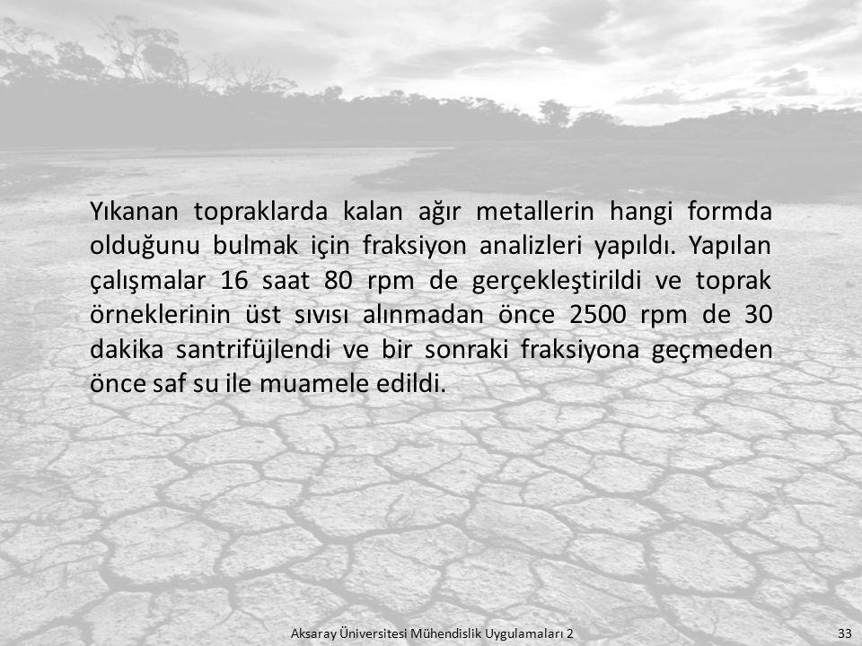 Yıkanan topraklarda kalan ağır metallerin hangi formda olduğunu bulmak için fraksiyon analizleri yapıldı. Yapılan çalışmalar 16 saat 80 rpm de gerçekleştirildi ve toprak örneklerinin üst sıvısı alınmadan önce 2500 rpm de 30 dakika santrifüjlendi ve bir sonraki fraksiyona geçmeden önce saf su ile muamele edildi.