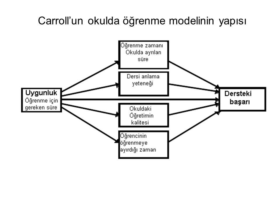 Carroll'un okulda öğrenme modelinin yapısı