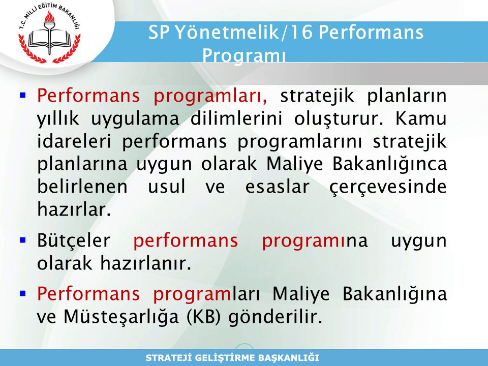 SP Yönetmelik/16 Performans Programı