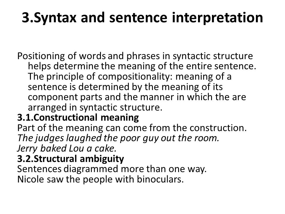 3.Syntax and sentence interpretation
