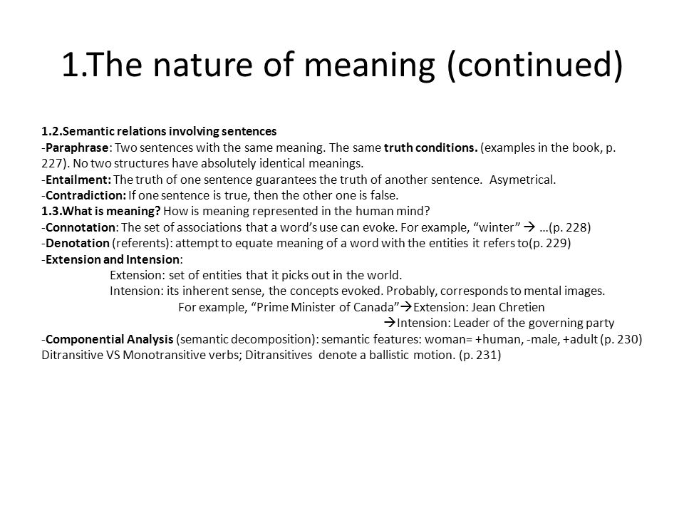 1.The nature of meaning (continued)