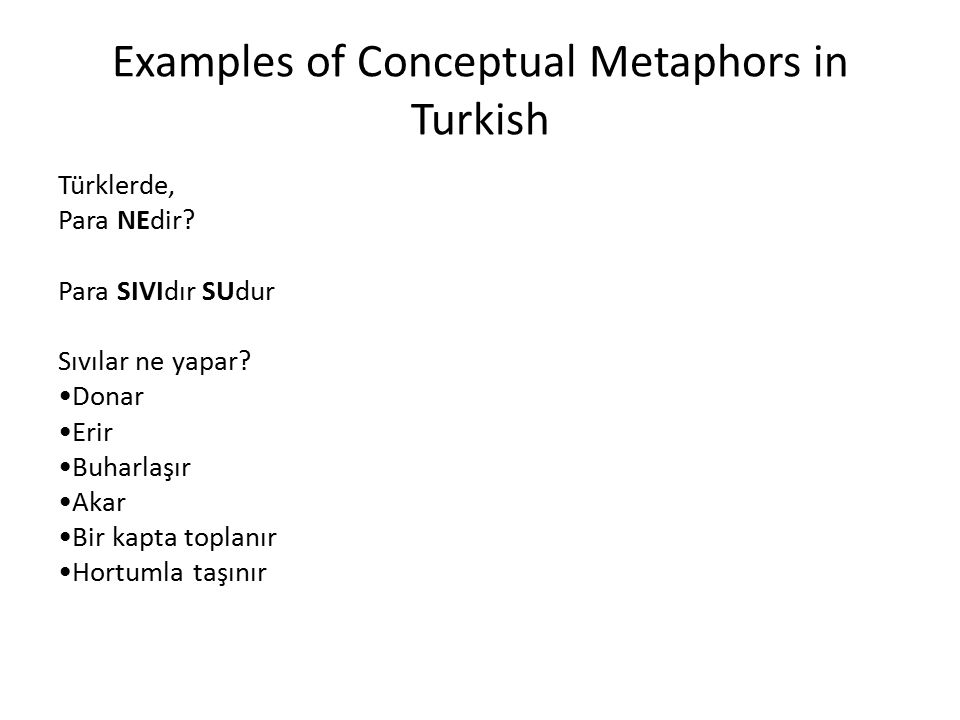 Examples of Conceptual Metaphors in Turkish