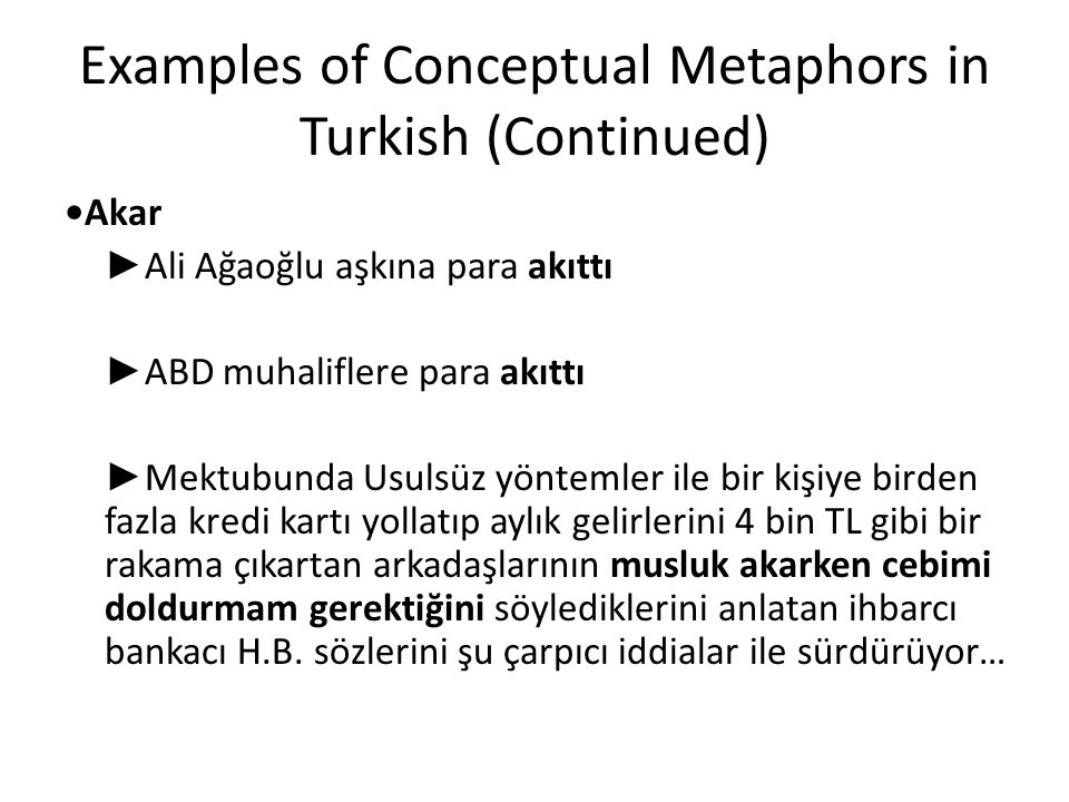 Examples of Conceptual Metaphors in Turkish (Continued)