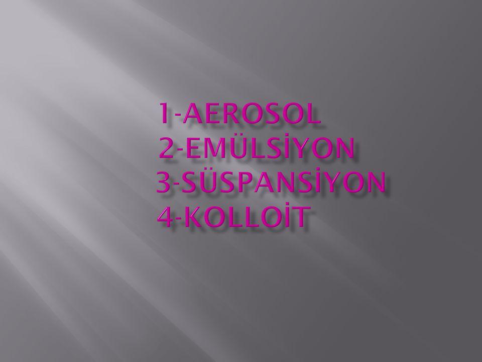 1-AEROSOL 2-emülSİYON 3-süspansİYON 4-kolloİt