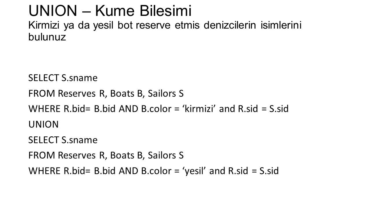 UNION – Kume Bilesimi Kirmizi ya da yesil bot reserve etmis denizcilerin isimlerini bulunuz